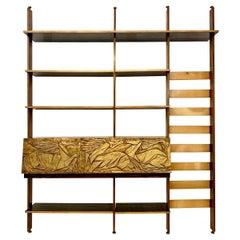 Italian Floor to Ceiling Wall Unit or Bookshelf, 1950s
