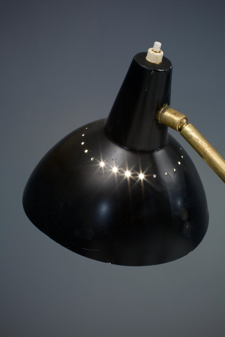 Italian Floorlamp by Stilnovo in Brass, Metal and Marble, Italy, 1950s In Good Condition For Sale In Amsterdam, NL