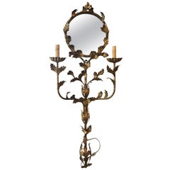 Italian Floral Gilt Iron Mirrored Wall Sconce