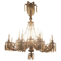 Italian Florence Capital Big Chandelier Gilded Bronze Cristall Pendent 16-Light