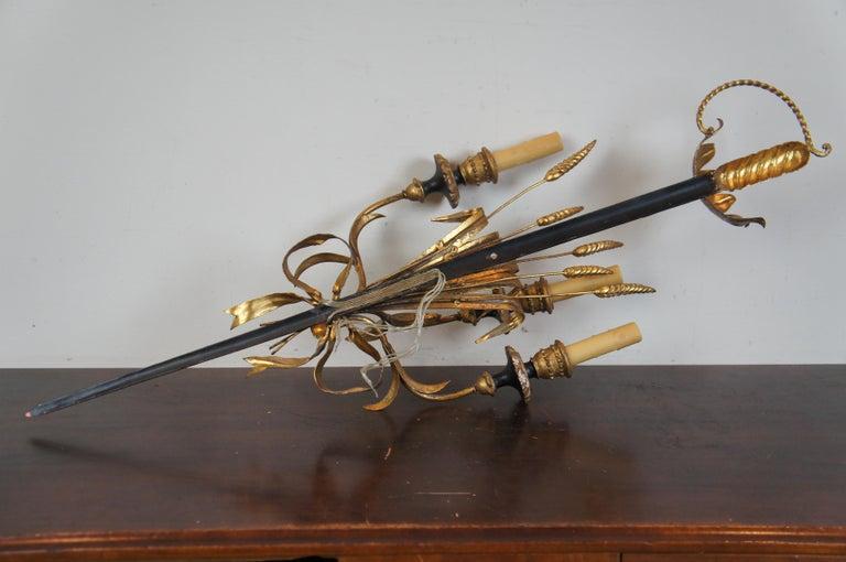 Italian Florentine 3-Light Wheat Sword Tole Candelabra Wall Sconce Regency For Sale 5