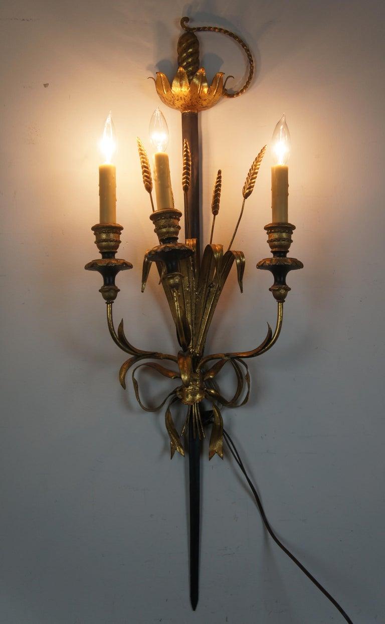 20th Century Italian Florentine 3-Light Wheat Sword Tole Candelabra Wall Sconce Regency For Sale