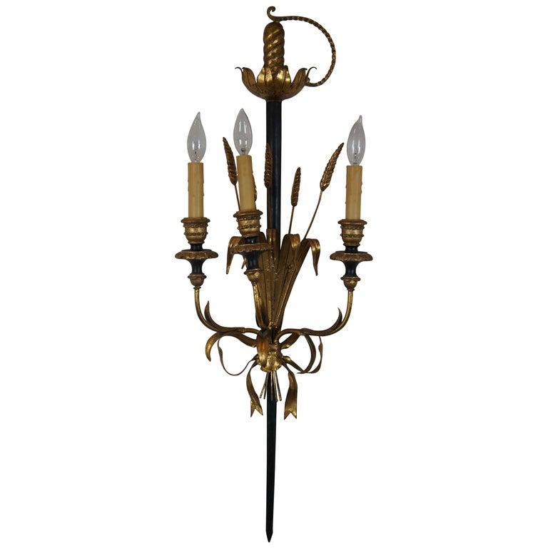Italian Florentine 3-Light Wheat Sword Tole Candelabra Wall Sconce Regency For Sale