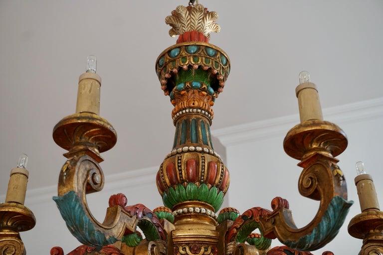 Italian Florentine Baroque Style Polychrome Wood Chandelier For Sale 6