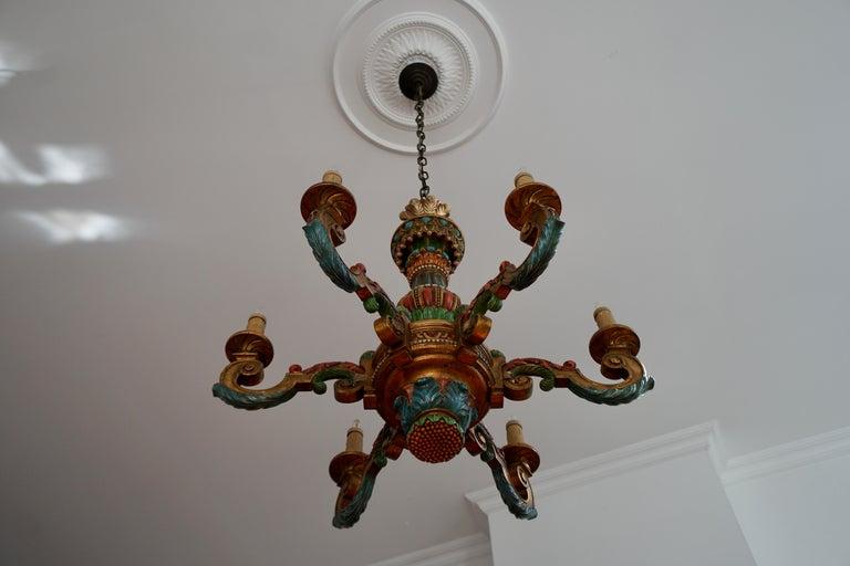 Hollywood Regency Italian Florentine Baroque Style Polychrome Wood Chandelier For Sale