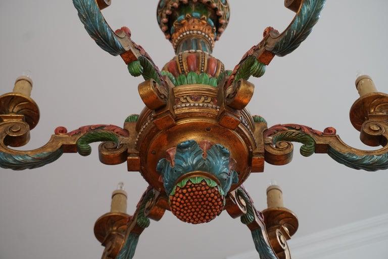 Brass Italian Florentine Baroque Style Polychrome Wood Chandelier For Sale