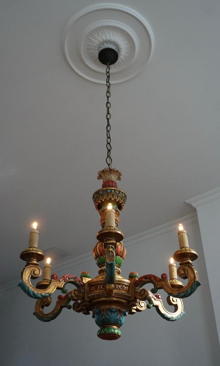 Italian Florentine Baroque Style Polychrome Wood Chandelier For Sale 2