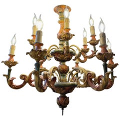 Italian Florentine Baroque Style Polychrome Wood Two-Tier 12-Light Chandelier