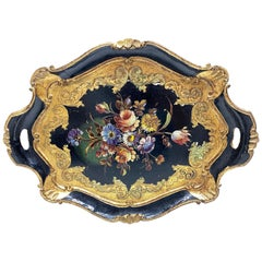 Italian Florentine Black and Gold Giltwood Serving Tray Toleware Tole, 1950s