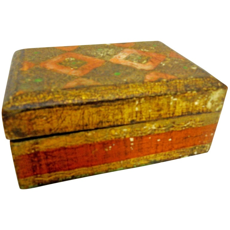 Italian Florentine Box with Orange and Giltwood For Sale