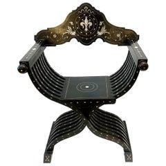 Italian Florentine Ebonized Folding Savonarola Chair, circa 1880