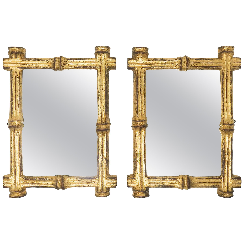Italian Florentine Faux Bamboo Mirrors, Pair