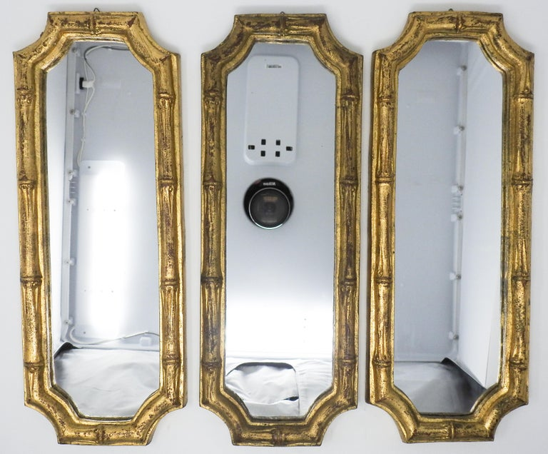 Offering this set of three, Italian Florentine bamboo style mirrors. These are all marked with the same style number, one of them the gilt seems to be darker than the other two. They are done in the faux bamboo look. Each of them still have the