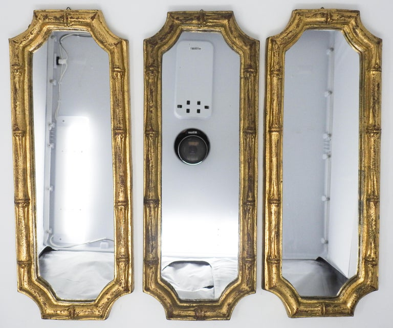 Chinese Chippendale Italian Florentine Faux Bamboo Mirrors, Set of 3 For Sale