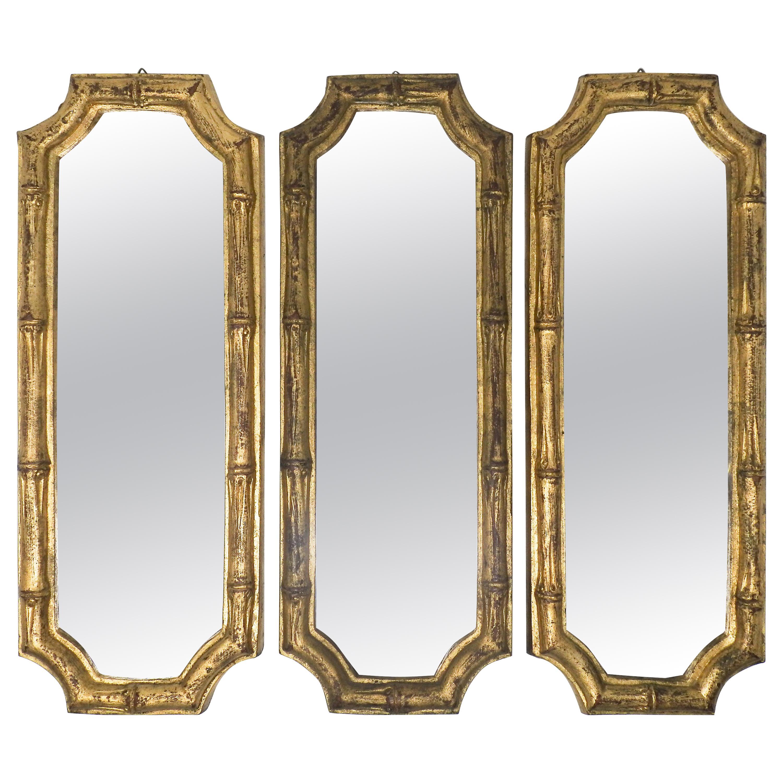 Italian Florentine Faux Bamboo Mirrors, Set of 3
