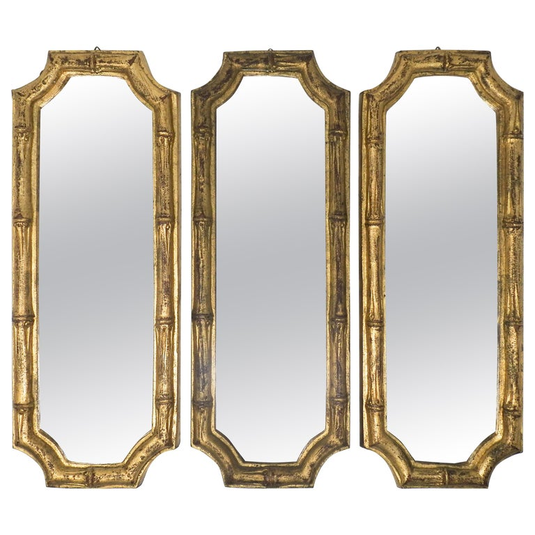 Italian Florentine Faux Bamboo Mirrors, Set of 3 For Sale