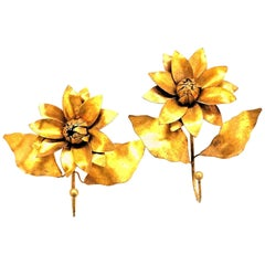 Italian Florentine Gilt Metal Lotus Flower Coat Hook Set Toleware Tole, 1950s