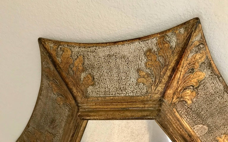 Late 20th Century Italian Florentine Giltwood Soleil Sunburst Mirror in Silver and Gold For Sale