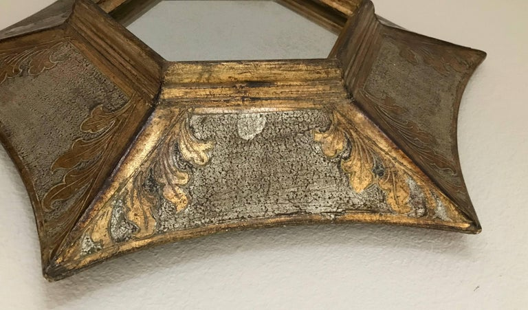 Italian Florentine Giltwood Soleil Sunburst Mirror in Silver and Gold For Sale 1