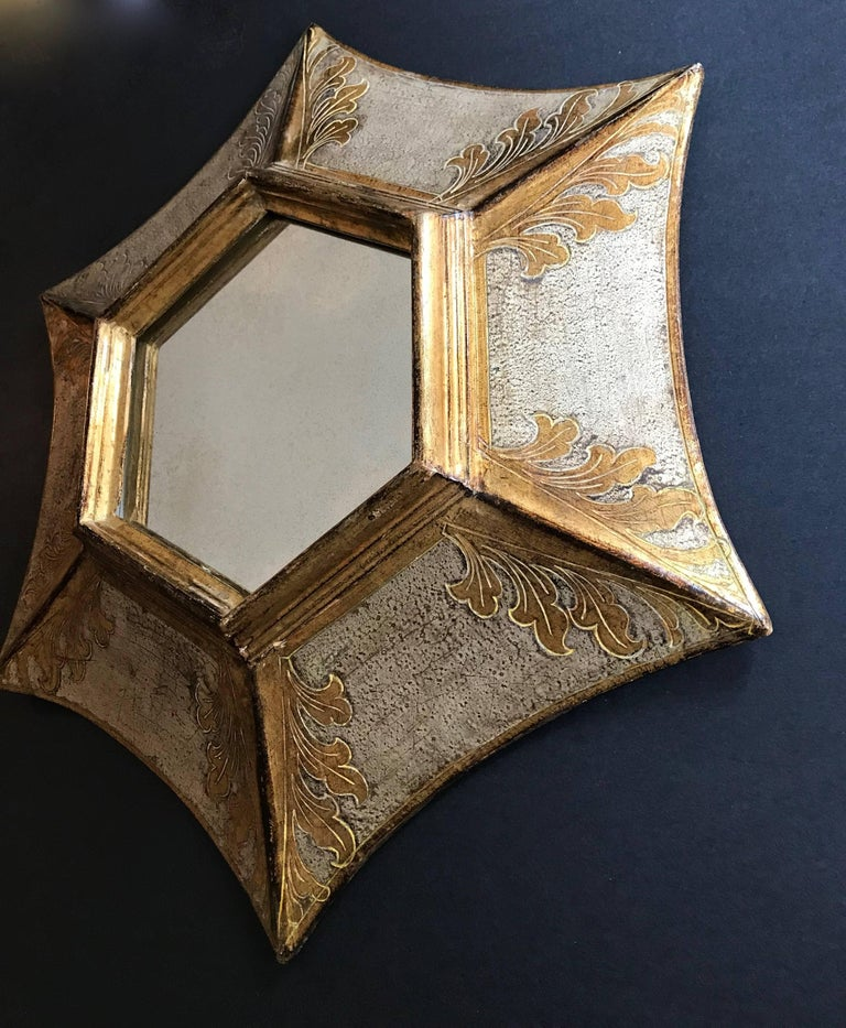 Italian Florentine Giltwood Soleil Sunburst Mirror in Silver and Gold For Sale 4