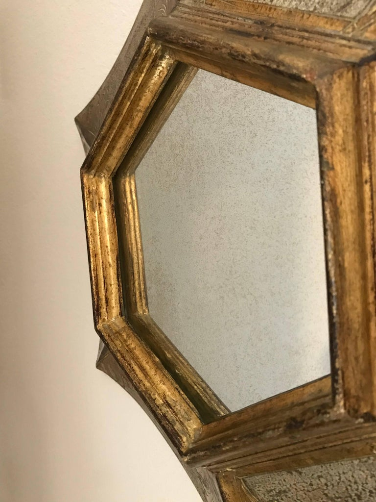 Italian Florentine Giltwood Soleil Sunburst Mirror in Silver and Gold For Sale 5