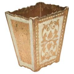 Italian Florentine Giltwood Trash Can Neoclassical Wastebasket, Italy, 1940s