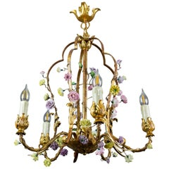 Italian Florentine Golden Wrought Iron and Porcelain Five-Light Chandelier