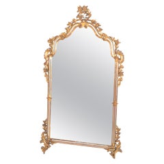 Italian Florentine Hand Carved Giltwood and Antique Mirrored Glass Wall Mirror
