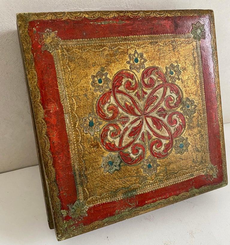 Hand-Crafted Italian Florentine Hand Painted Box For Sale