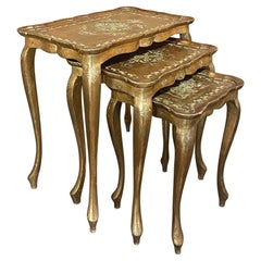 Italian Florentine Hand-Painted Nesting Table Set