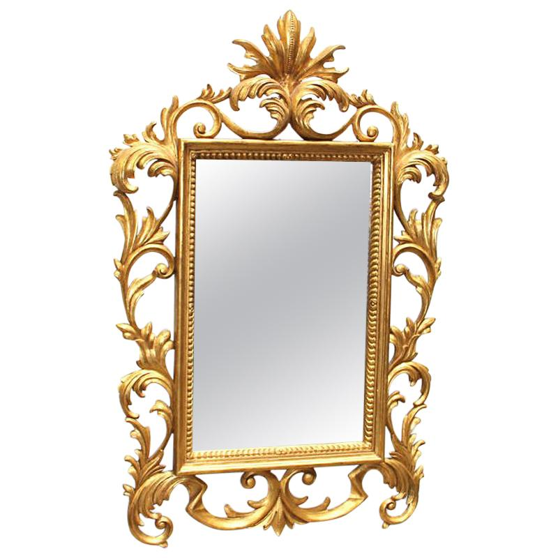 Italian Florentine Style Carved Giltwood Mirror, 19th Century