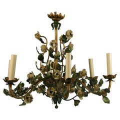 French Flower and Leaves 6 Light Chandelier