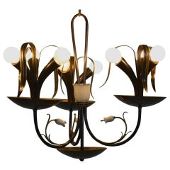Italian Flower Bouquet Chandelier in Brass, Gio Ponti Era, 1940s