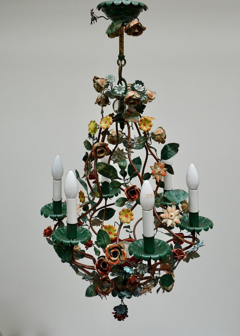Italian metal painted flower chandelier.  The light requires six single E14 screw fit lightbulbs (60Watt max.) LED compatible. Diameter:50 cm Height fixture 72 cm Total height with the chain 140 cm.