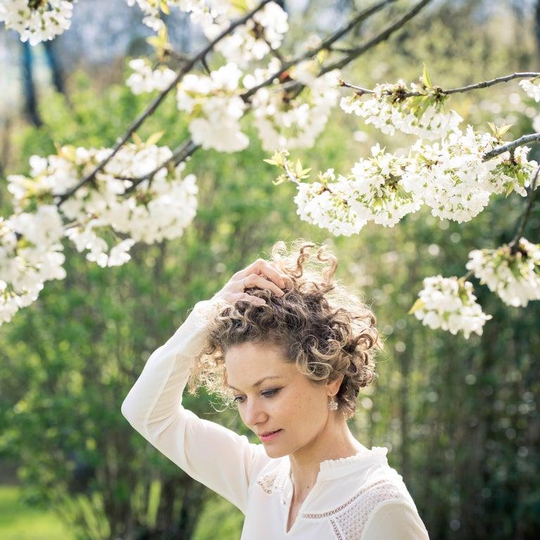 Romantic Italian Flower Pearl Vermeil Drop Earrings