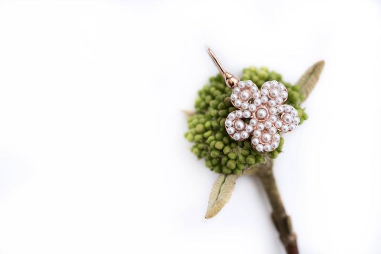 Italian Flower Pearl Vermeil Drop Earrings In New Condition In Poitiers, FR