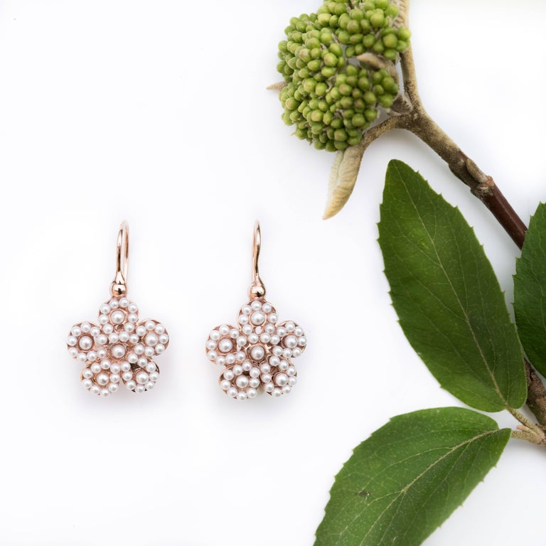 Women's Italian Flower Pearl Vermeil Drop Earrings