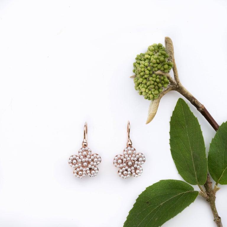 Italian Flower Pearl Vermeil Drop Earrings 1