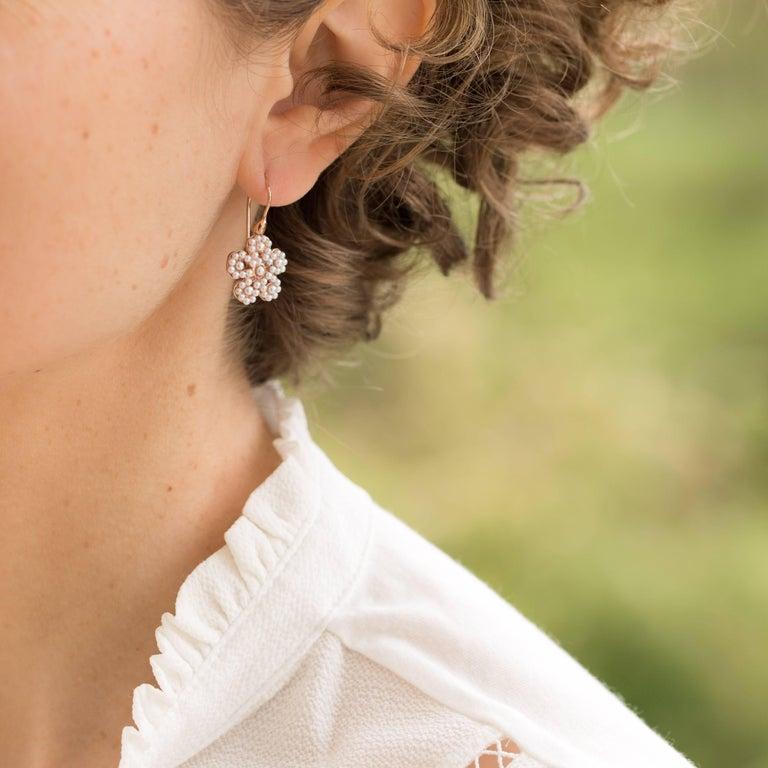 Italian Flower Pearl Vermeil Drop Earrings 2