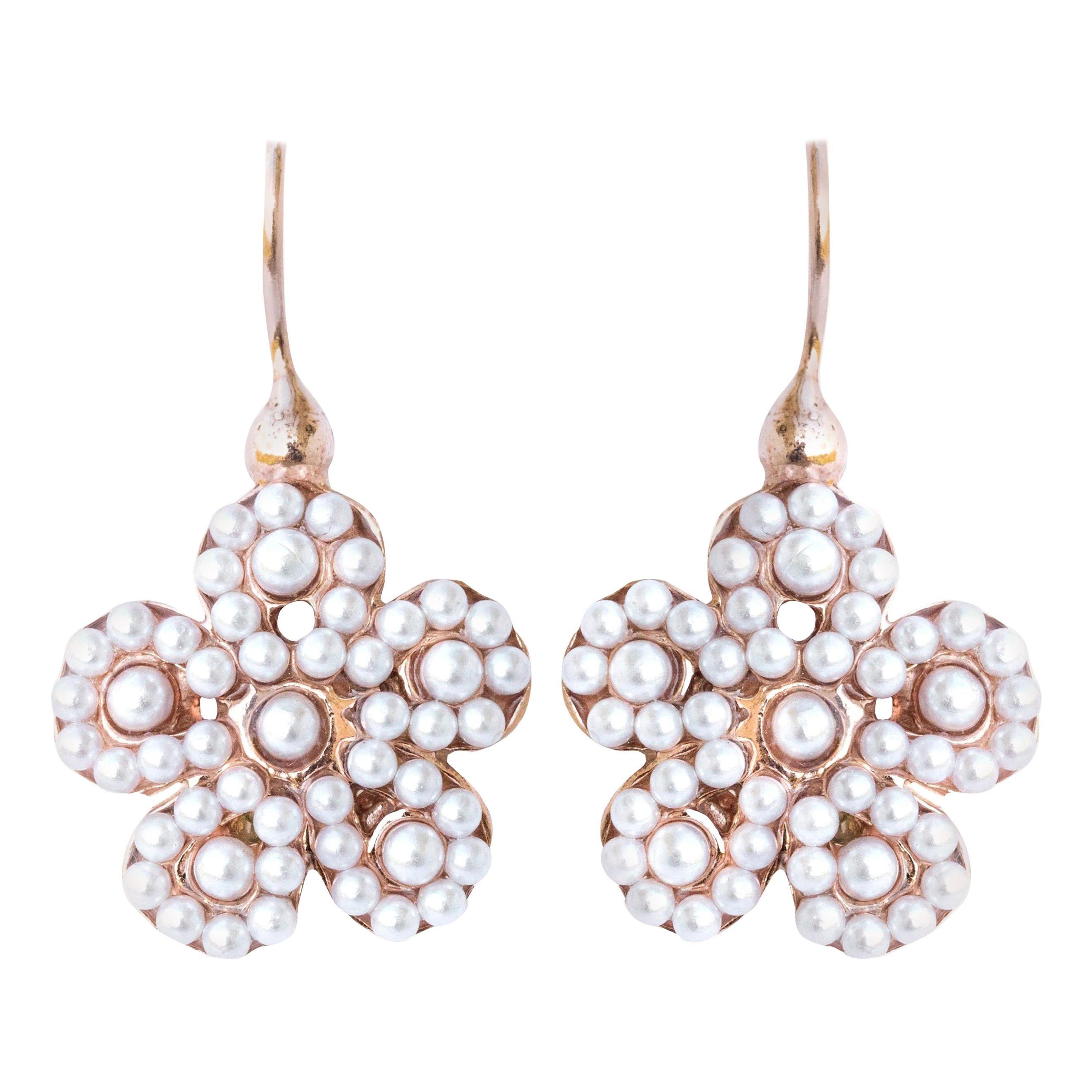 Italian Flower Pearl Vermeil Drop Earrings