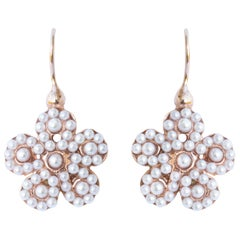 Italian Flower Pearl Vermeil Drop Earrings