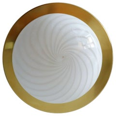 Italian Flush Mount Ceiling Light with Murano Swirl Glass and Brass by Venini