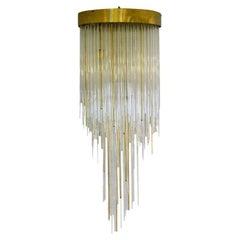 Italian Flush Mount Chandelier in Glass and Brass Cascading Like a Waterfall