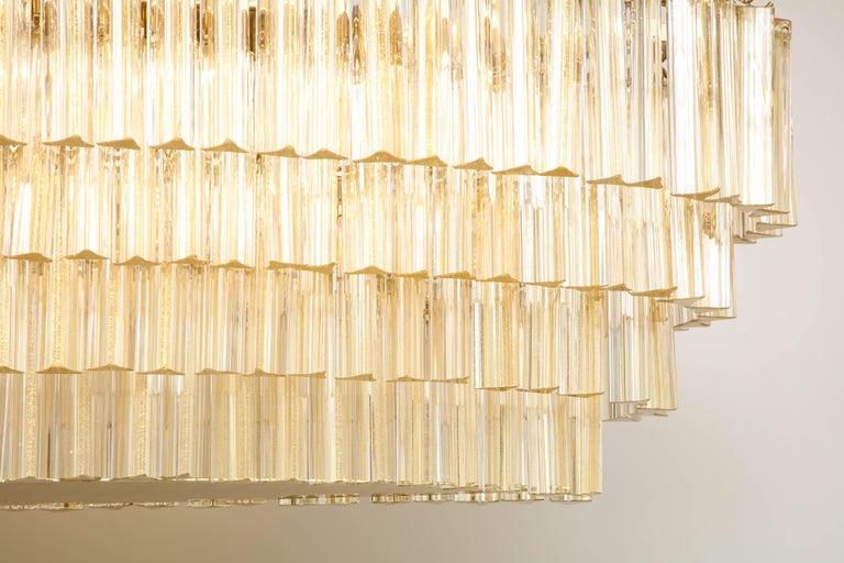 Mid-Century Modern Italian Flush Mount Oval Murano Glass