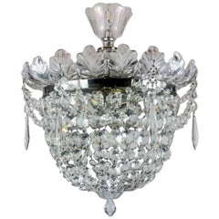 Italian Flush Mounted Crystal Basket Three-Light Ceiling Light circa 1970