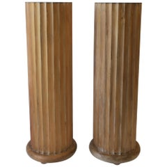 Italian Fluted Wood Pillar Column Pedestal Stand