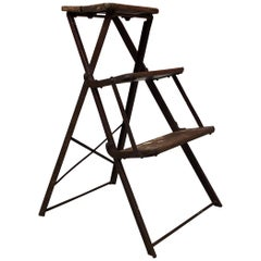 Italian Folding Iron and Wood Ladder, Early 1900s