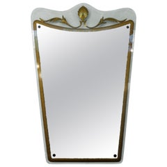 Italian Fontana Arte Attributed Midcentury Gilt Decorated Mirror