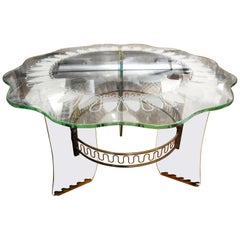 Italian Fontana Arte Inspired Bronze and Glass Table