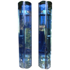 Italian Fontana Arte Inspired Quadrilateral Blue Glass Sconces